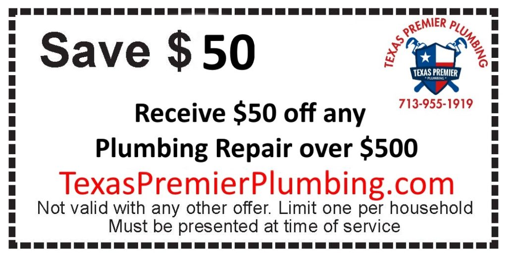 Save $50 Off Any Plumbing repair offered by Texas Premier Plumbing